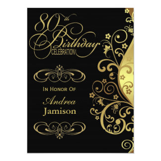 Black and Gold 80th Birthday Party Invitation