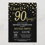 """Black and Gold 90th Birthday Diamond Invitation<br><div class=""""desc"""">90th Birthday Invitation with Black and Gold Glitter Diamond Background. Gold Confetti. Adult Birthday. Male Men or Women Birthday. For further customization,  please click the """"Customize it"""" button and use our design tool to modify this template.</div>"""
