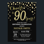 "Black and Gold 90th Birthday Diamond Invitation<br><div class=""desc"">90th Birthday Invitation with Black and Gold Glitter Diamond Background. Gold Confetti. Adult Birthday. Male Men or Women Birthday. For further customization,  please click the ""Customize it"" button and use our design tool to modify this template.</div>"