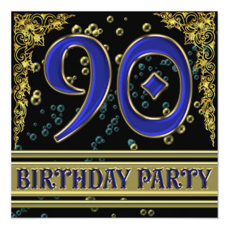 Black and Gold 90th Birthday party Card