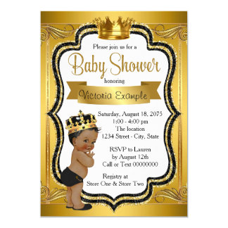 Black and Gold African American Prince Baby Shower Card