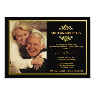 """Black and Gold Anniversary Invitation 5"""" X 7"""" Invitation Card"""