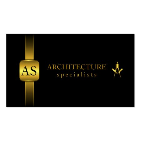 Elegant Black and Gold Ribbon and Compass Architect Business Cards