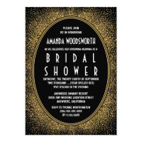 Black and Gold Art Deco Bridal Shower Invitations