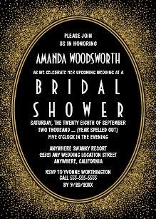 Art deco bridal shower invitations announcements zazzle black and gold art deco bridal shower invitations filmwisefo Gallery