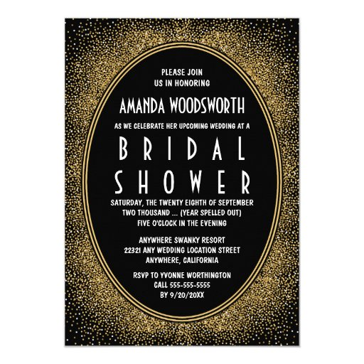 Stylish Glam Gold Black Art Deco Invitations – Art Deco Party Invitations