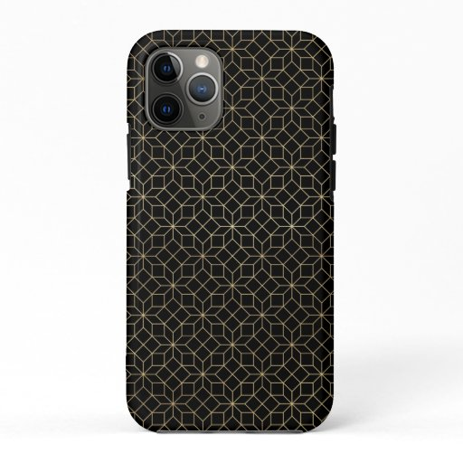 Black and gold art-deco geometric pattern iPhone 11 pro case