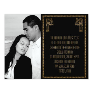 Black and Gold Art Deco Peacock Wedding Engagement Card