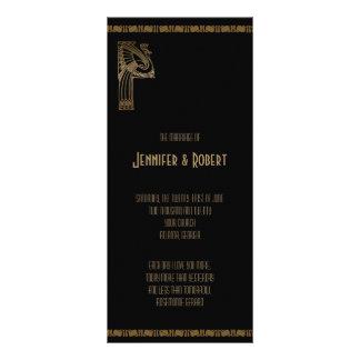 Black and Gold Art Deco Peacock Wedding Program Customized Rack Card