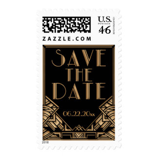 Black and Gold Art Deco Theme Save the Date Postage Stamps
