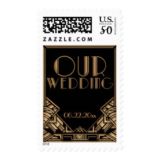 Black and Gold Art Deco Theme Wedding Postage