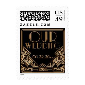 Black and Gold Art Deco Theme Wedding Postage