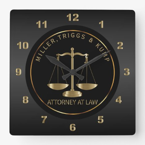 Black and Gold - Attorney at Law Square Wall Clock