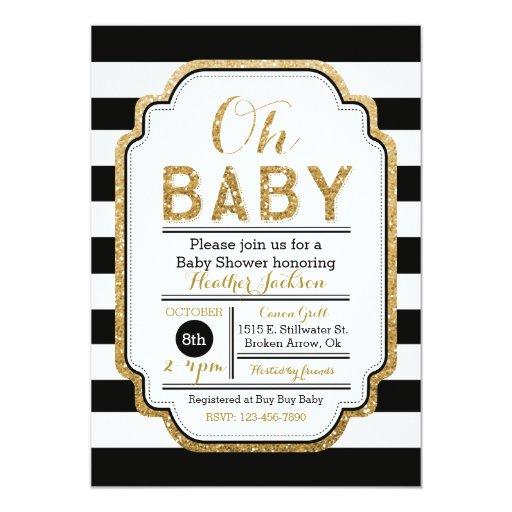 black and gold baby shower invitation zazzle