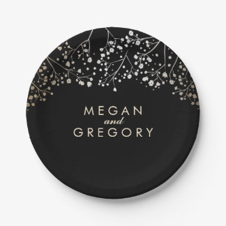 Black and Gold Baby's Breath Wedding Paper Plate