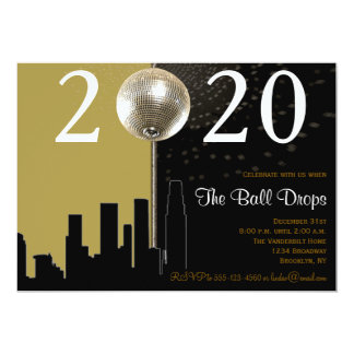 Black and Gold Ball New Years Eve Party Invitation