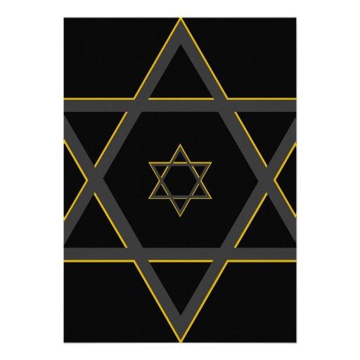 Black and Gold Bar Mitzvah Invitation (back side)