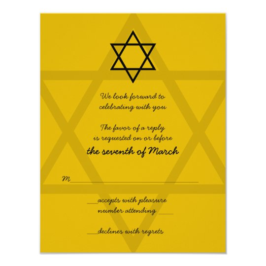Black and Gold Bar Mitzvah Reply Card