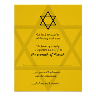 Black and Gold Bar Mitzvah Reply Card Announcements