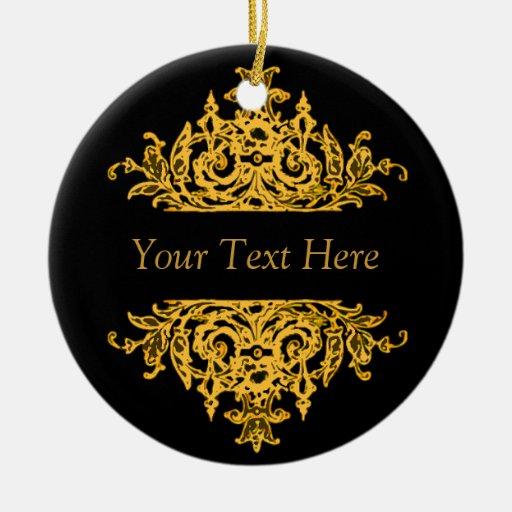 black and gold baroque christmas ornament zazzle. Black Bedroom Furniture Sets. Home Design Ideas