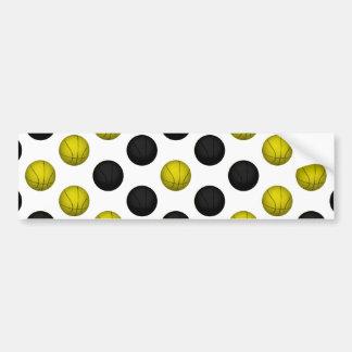 Black and Gold Basketball Pattern Bumper Sticker