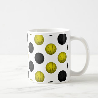 Black and Gold Basketball Pattern Coffee Mug