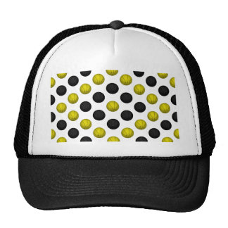 Black and Gold Basketball Pattern Trucker Hat