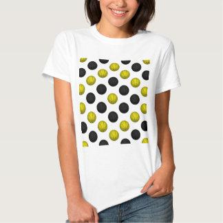 Black and Gold Basketball Pattern T-Shirt
