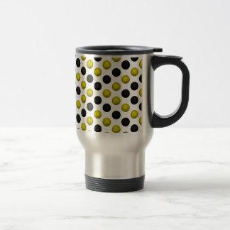 Black and Gold Basketball Pattern Travel Mug