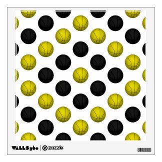Black and Gold Basketball Pattern Wall Sticker