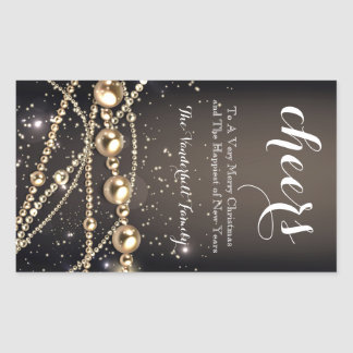 Black and Gold Beads Christmas Wine Bottle Label Rectangular Sticker