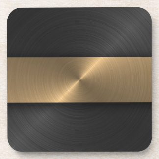 Black And Gold Beverage Coaster
