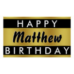 Black and Gold Birthday Banner Poster