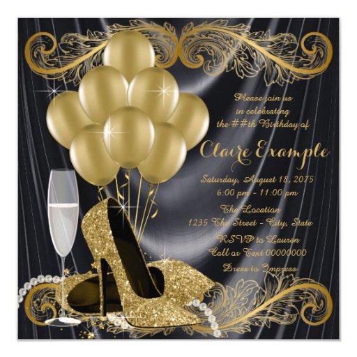 Stylish Glam Gold & Black Art Deco Invitations