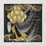"""Black and Gold Birthday Party Hollywood Glamour Invitation<br><div class=""""desc"""">Woman's black and gold art deco glamorous birthday party invitation featuring beautiful gold glitter high heel shoes, gold balloons, champagne and pearls on a glamorous and luxurious black satin background. This elegant black and gold birthday party invitation is easily customized for your event by simply adding your details in the...</div>"""