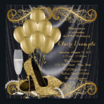 "Black and Gold Birthday Party Hollywood Glamour Invitation<br><div class=""desc"">Woman's black and gold art deco glamorous birthday party invitation featuring beautiful gold glitter high heel shoes, gold balloons, champagne and pearls on a glamorous and luxurious black satin background. This elegant black and gold birthday party invitation is easily customized for your event by simply adding your details in the...</div>"