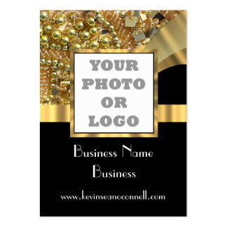 Black and gold bling  photo logo large business cards (Pack of 100)