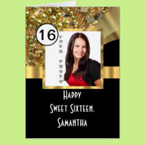 Black and gold bling sweet sixteen card