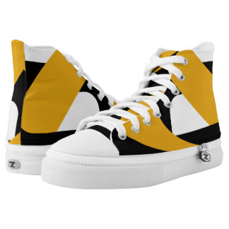 Black and Gold Boomrocket Hi-Top Printed Shoes