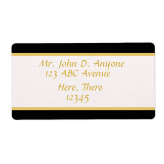 Black and Gold Border Shipping Label