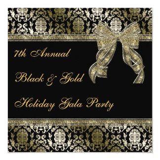 Black and Gold Bowed Damask Holiday Party Invite