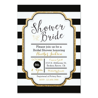 Black And Gold Bridal Shower Invitation