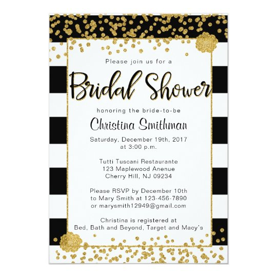 Black and gold bridal shower invitations zazzle black and gold bridal shower invitations filmwisefo