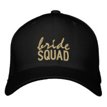 Black and Gold Bride Squad Embroidered Baseball Hat