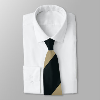 Black and Gold Broad Regimental Stripe Neck Tie