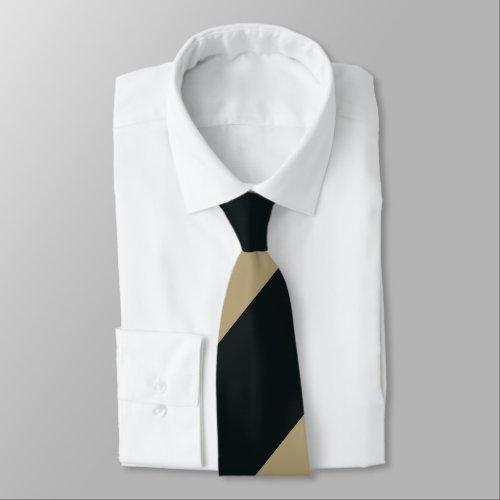 Black and Gold Broad Regimental Stripe Neck Tie