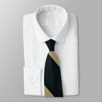 Black and Gold Broad University Stripe Neck Tie