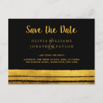 Black and Gold Brush Stroke Save The Date Postard Announcement Postcard
