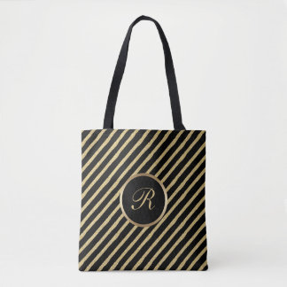 Black and Gold Brushed Stripes with Monogram Tote Bag