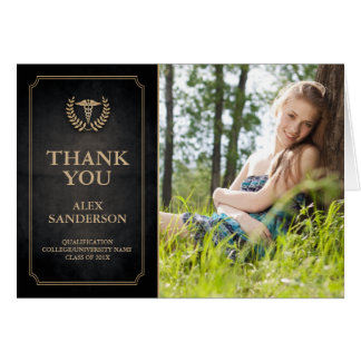 Black and Gold Caduceus/Medical School Thank You Card